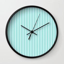Classic Aqua Blue and White Mattress Ticking Stripes Wall Clock
