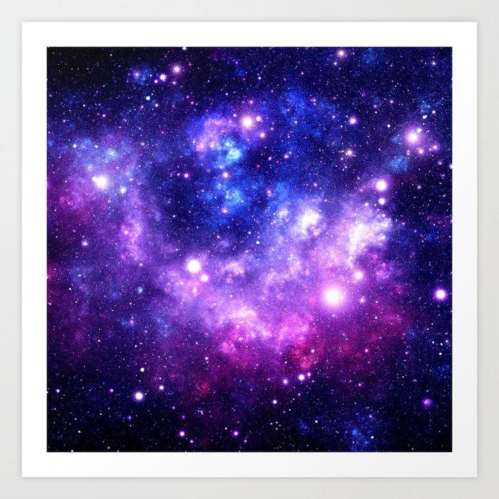 Purple Blue Galaxy Nebula Kunstdrucke