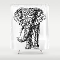 ornate elephant Shower Curtains featuring Navajo Elephant by BIOWORKZ