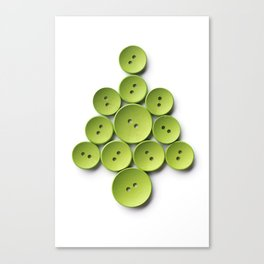 Christmas tree made with green buttons, isolated on white background Canvas Print