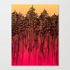 FOREST THROUGH THE TREES 12 Hot Pink Magenta Orange Black Landscape Ombre Abstract Painting Outdoors Canvas Print