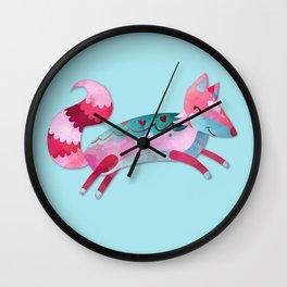 Pink & Blue Pastel Love FOX Wall Clock
