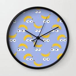 Banana eyes illustration blue - Girl Gang Prints Wall Clock