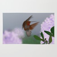 hummingbird Area & Throw Rugs featuring Hummingbird by dBranes