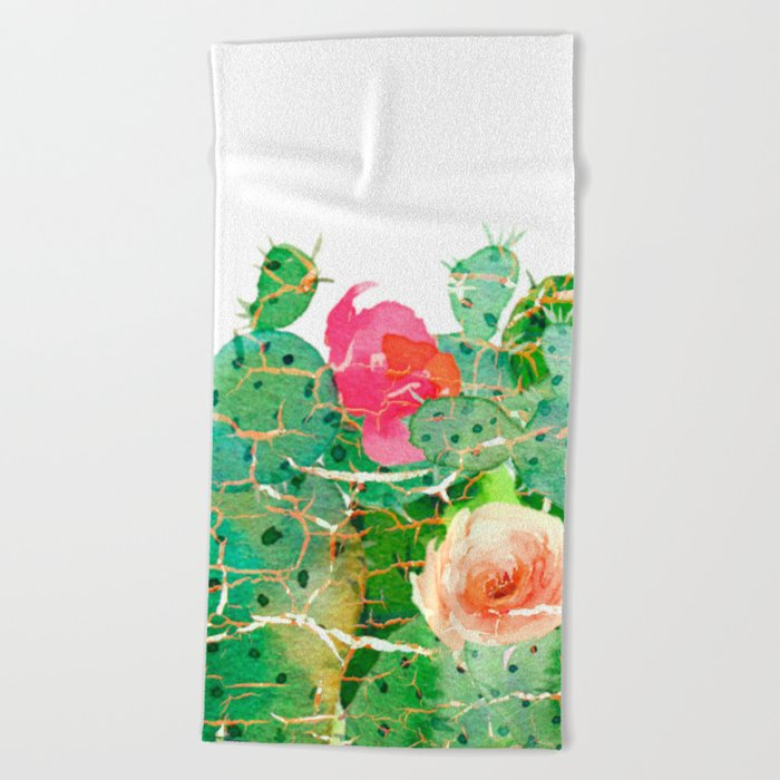 scratched cactus Beach Towel