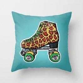Cyan Leopard print roller skates Throw Pillow