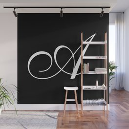 Elegant And Stylish Black And White Monogram A Wall Mural