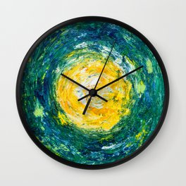 """Enthusiasm"" abstract art in yellow & green Wall Clock"