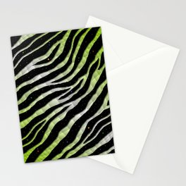 Ripped SpaceTime Stripes - Lime/White Stationery Cards