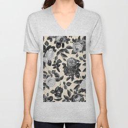 Vintage Black and White Roses Unisex V-Neck