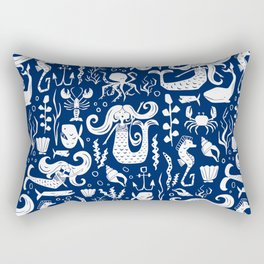 Under The Sea Navy Blue Rectangular Pillow