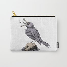 Black Bird on Skull Carry-All Pouch