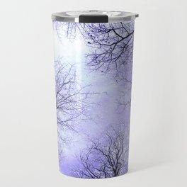 Black Trees Lavender Sky Travel Mug