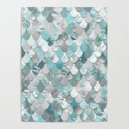 Mermaid Aqua and Grey Poster