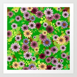 Multicolored natural flowers 6 Art Print