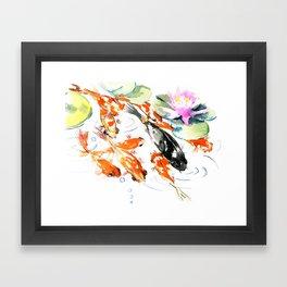 Nine Koi Fish, 9 KOI, feng shui artwork asian watercolor ink painting Framed Art Print