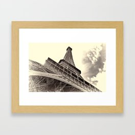 The famous Eiffel Tower in Paris, France in sepia. Vintage photography Framed Art Print