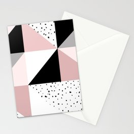 Geometrical pink black gray watercolor polka dots color block Stationery Cards