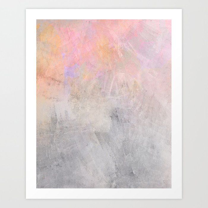 Pastel Candy Iridescent Marble on Concrete Art Print