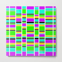 Retro Stacks in Purple, Green and Turquoise Metal Print