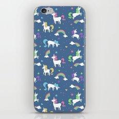 Unicorns and Rainbows - blue -tiny iPhone & iPod Skin
