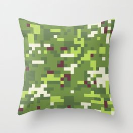 Camouflage military background in pixel style Throw Pillow