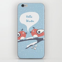 "Two Birds sitting on a Branch say ""Hello Winter"" iPhone Skin"
