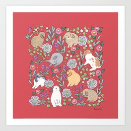 Lop eared rabbits and winter Art Print