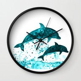 Dolphins, navy blue Wall Clock