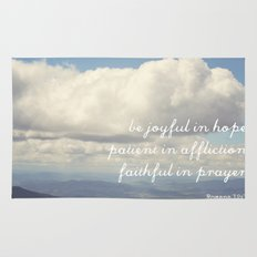 Be Joyful in Hope, Patient in Affliction, Faithful in Prayer [Bible Quote] Rug