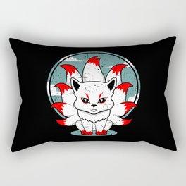 Nine Tailed cute Kitsune Japanese Fox Kabuki Mask Rectangular Pillow