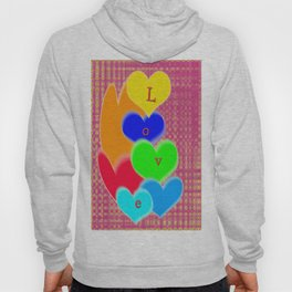 coloured love hearts Hoody