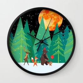 Take a walk under the moon Wall Clock