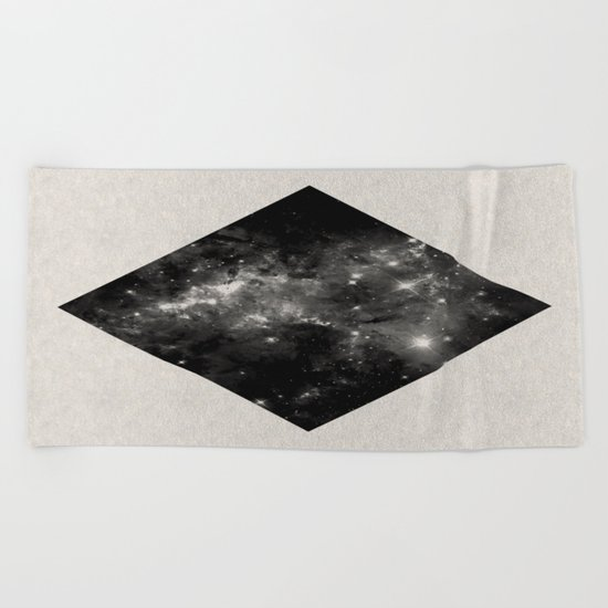 Space Diamond - Abstract, geometric space scene in black and white Beach Towel