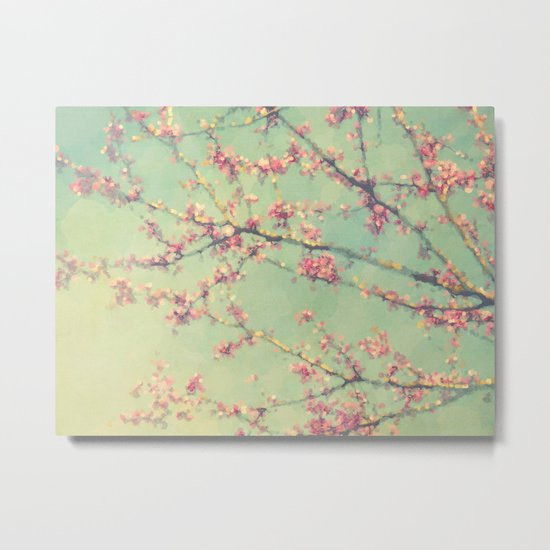 Dreamy Abstract Spring Flowering Branches Pink and Mint Green  Metal Print