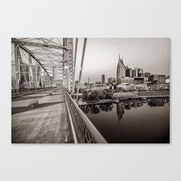 Nashville Skyline and Pedestrian Bridge in Sepia Canvas Print