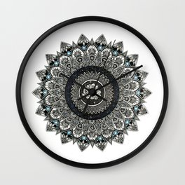 Black and White Flower Mandala with Blue Jewels Wall Clock