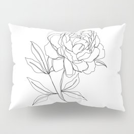 Botanical illustration line drawing - Peony Pillow Sham