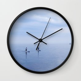 Couple Paddleboarding on Lake Ontario Wall Clock