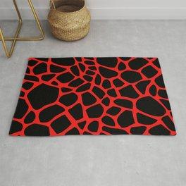 Giraffe Print Pattern (Black On Red) Rug