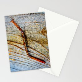 Grunge Rusty Metal Nail On Wooden Deck Stationery Cards