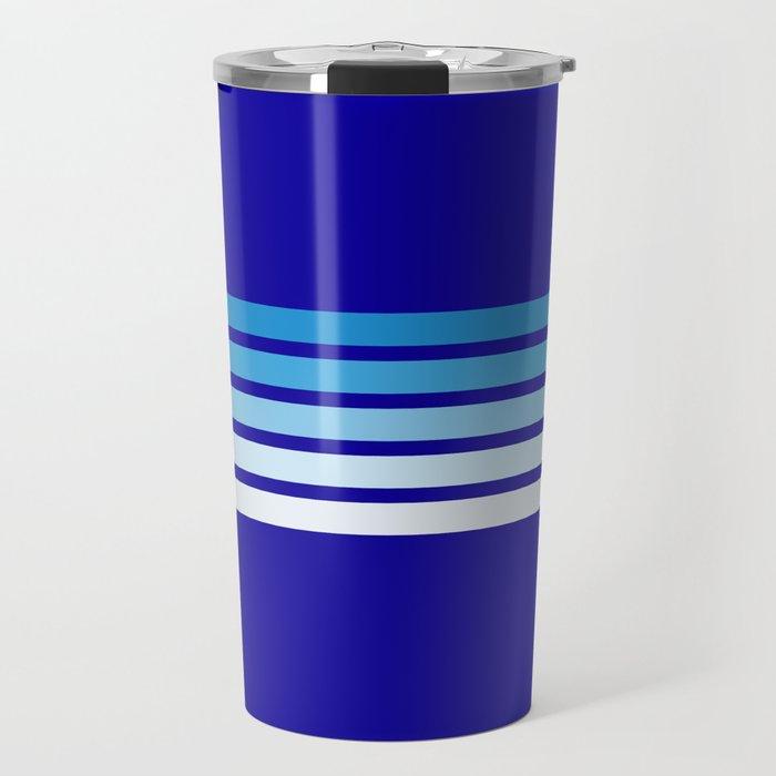 Retro Stripes on Blue Travel Mug