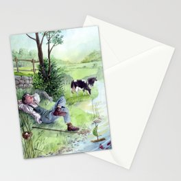Bucolic landscape - The shepherd's rest - Countryside and cows Stationery Cards