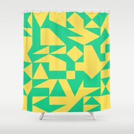 English Square (Yellow & Green) Shower Curtain