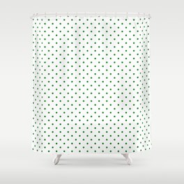 Small Green Polkadot Heart on Snow White Shower Curtain