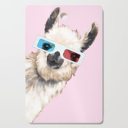 Sneaky Llama with 3D Glasses in Pink Cutting Board