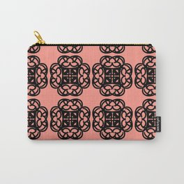 Black Doilies (Design 2) w/ a Coral Background Carry-All Pouch