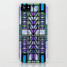 Aqua and Green Art Deco Stained Glass Design iPhone Case