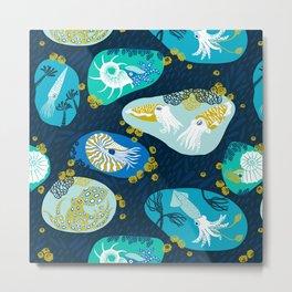 Cephalopods through time Metal Print
