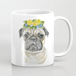 Pug Floral Dog Portrait Watercolor Coffee Mug
